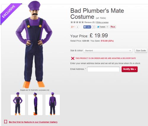 costume waluigi bad plumber's mate - 8300967424