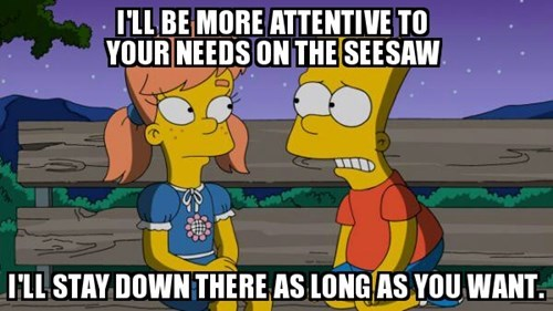 seesaw,bart simpson,love,the simpsons,funny