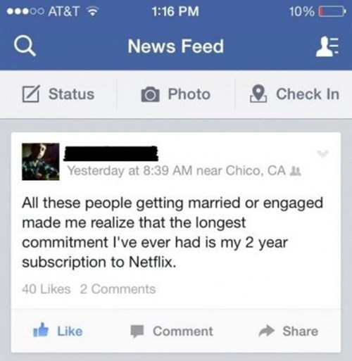 forever alone,relationships,netflix,failbook,g rated
