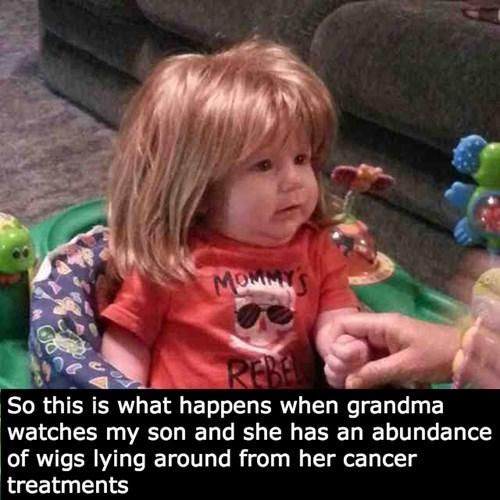 baby grandma wig parenting - 8302888448