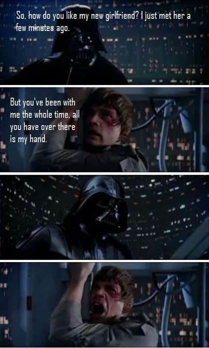 darth vader,hands,eww,funny,girlfriend,star wars,luke skywalker
