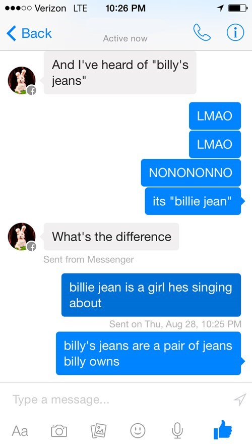 Billy's jeans are not my lover
