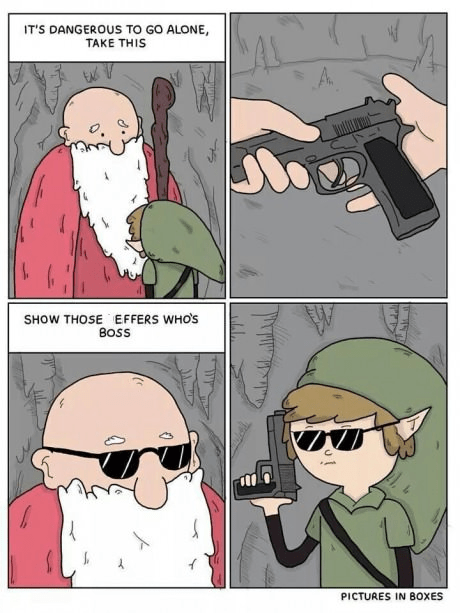 guns,legend of zelda,video games,sunglasses,web comics