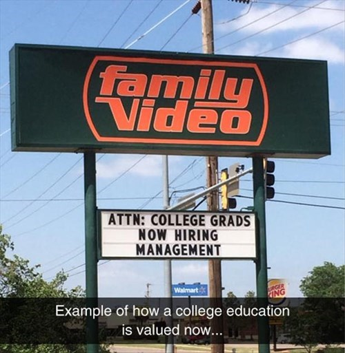 college monday thru friday management sign job hunt video store
