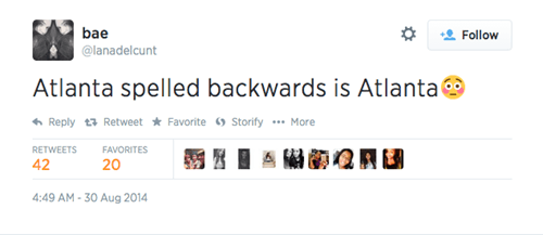 Atlanta,facepalm,palindrome,twitter