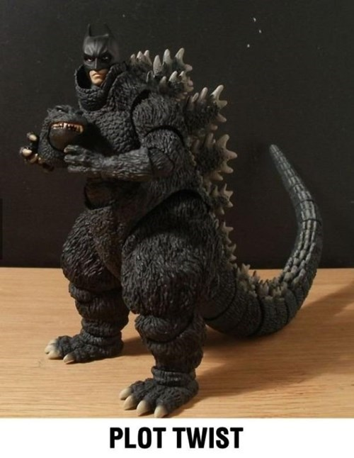 what a twist,godzilla,batman