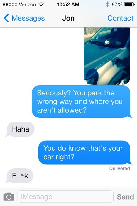 douchebag parkers texting parking - 8307893504