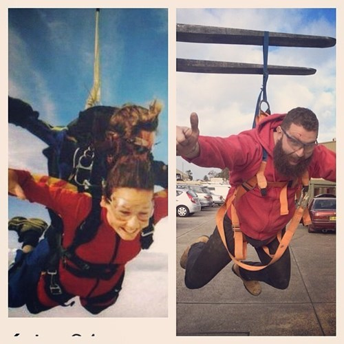 2 panel picture girl skydiving and guy pretending to skydive