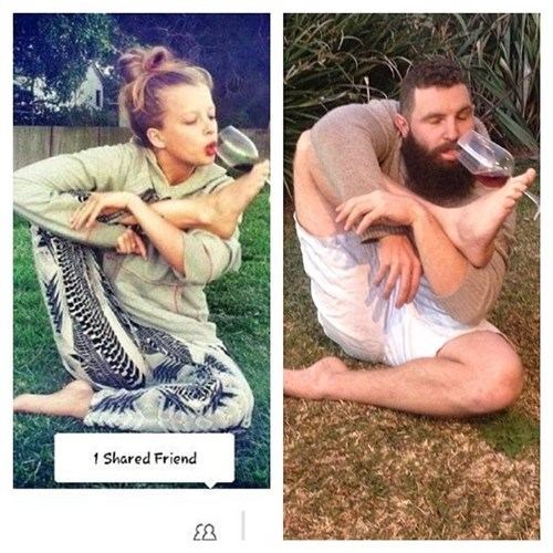 2 panel picture girl and guy doing yoga