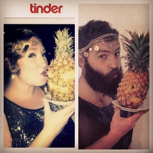 2 panel picture girl and guy wearing head jewellry kissing pineapple