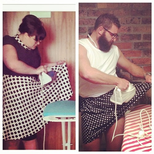 2 panel picture girl and guy ironing skirt while wearing it