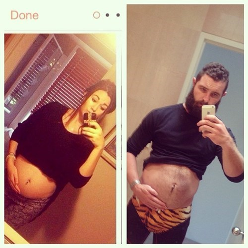 2 panel picture girl and guy holding pregnant belly