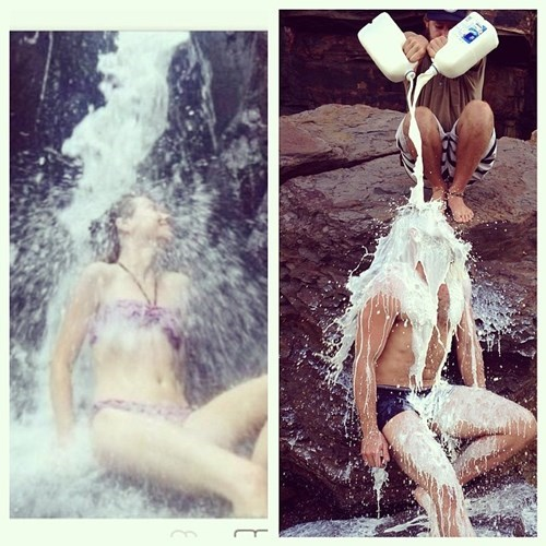 2 panel picture girl under waterfall guy getting milk poured on him