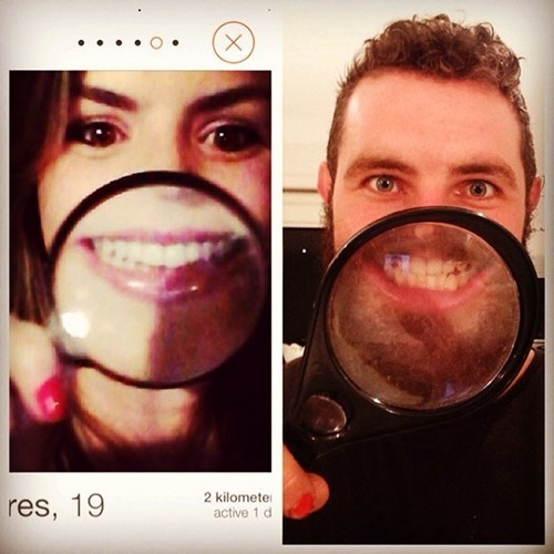 2 panel picture girl and guy holding magnifying glass to smile