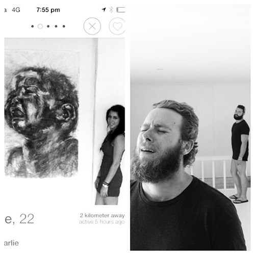 2 panel picture girl and guy black and white photo next to painting guy face