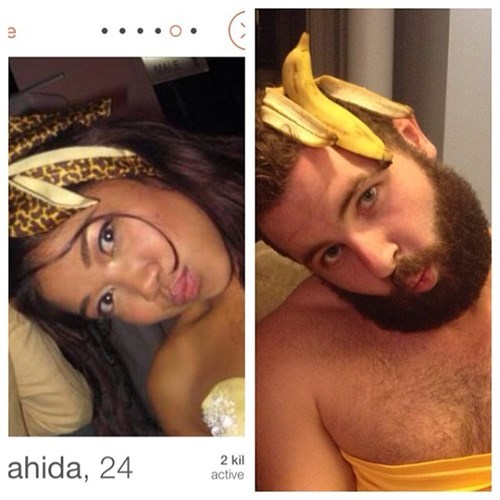 2 panel picture girl and guy with bananas on head