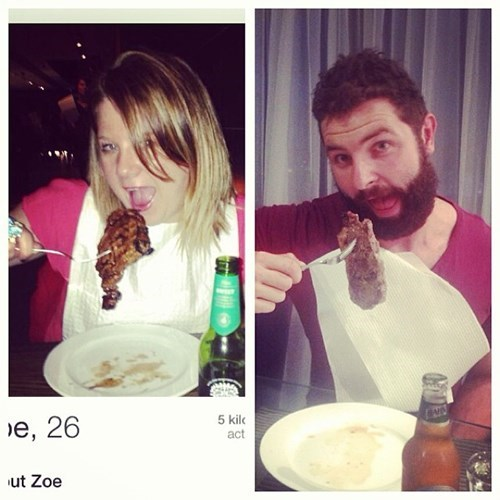 2 panel picture girl and guy eating meat