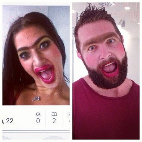 2 panel picture girl and guy ugly makeup