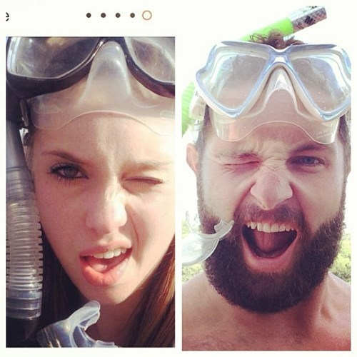 2 panel picture girl and guy wearing snorkel