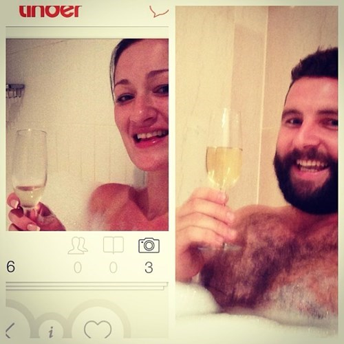 2 panel picture girl and guy in bath with champagne
