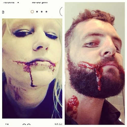 2 panel picture girl and guy fake blood on face
