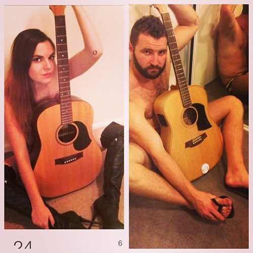 2 panel picture girl and guy naked behind guitar
