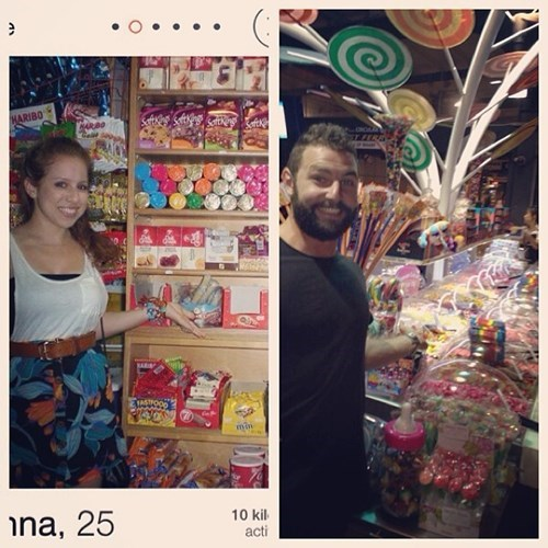 2 panel picture girl and guy in candy store