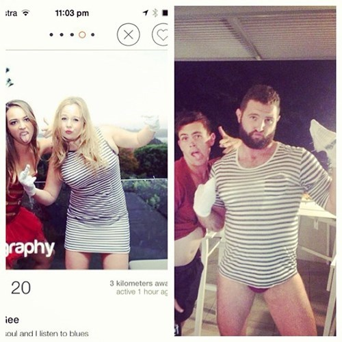 2 panel picture girl and guy in stripy dress