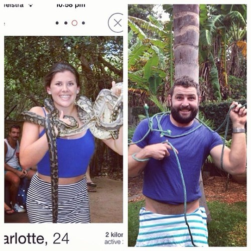 2 panel picture girl and guy holding a snake
