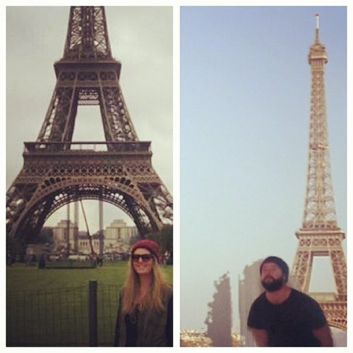 2 panel picture girl and guy in front of eiffel tower