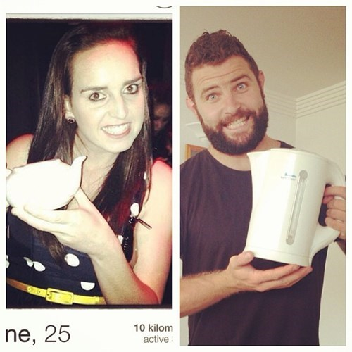 2 panel picture girl and guy holding kettle