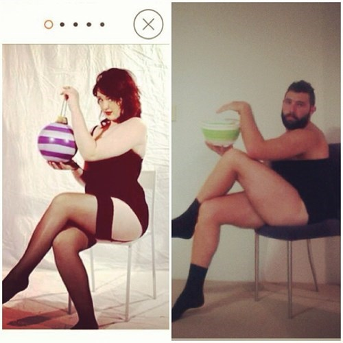 2 panel picture girl and guy posing on chair