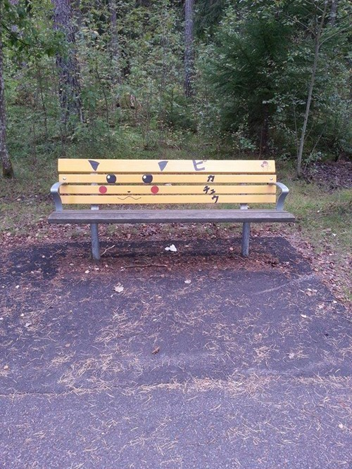 Pokémon,IRL,Sweden,sorry about the title,pikachu,bench