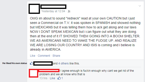 thats-racist,facepalm,redneck,failbook