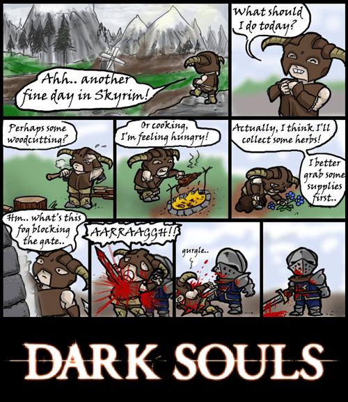 dragonborn,dark souls,git gud,Skyrim,web comics