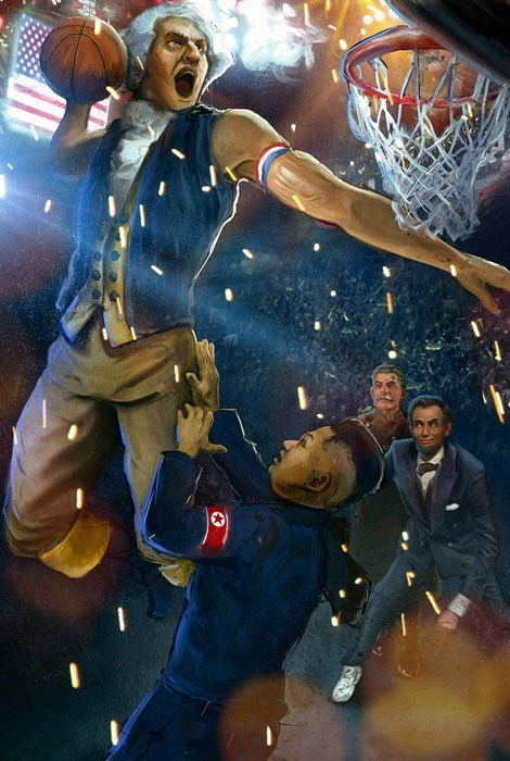 kim jong-un art North Korea george washington basketball Reddit - 8312804864
