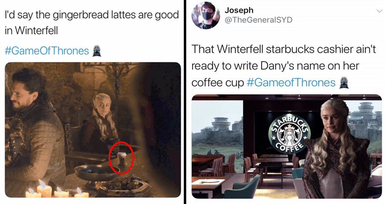 Someone left coffee cup on Game of Thrones set.