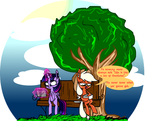 applejack forest gump twilight sparkle - 8313112576