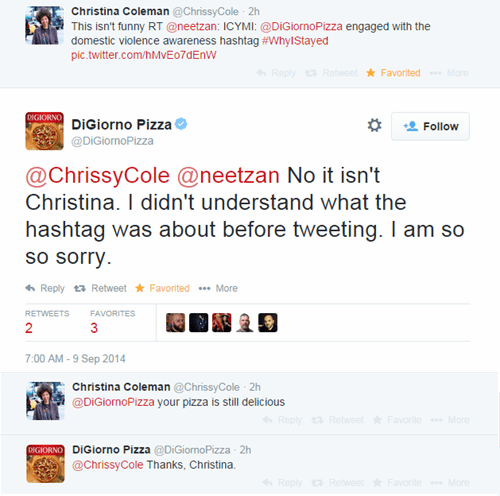 twitter whoops pizza nfl hashtag brands ray rice digiorno brand - 8313719296