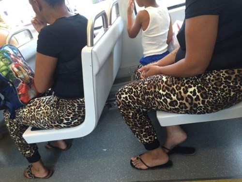 poorly dressed,leopard print,matching,leggings,bus