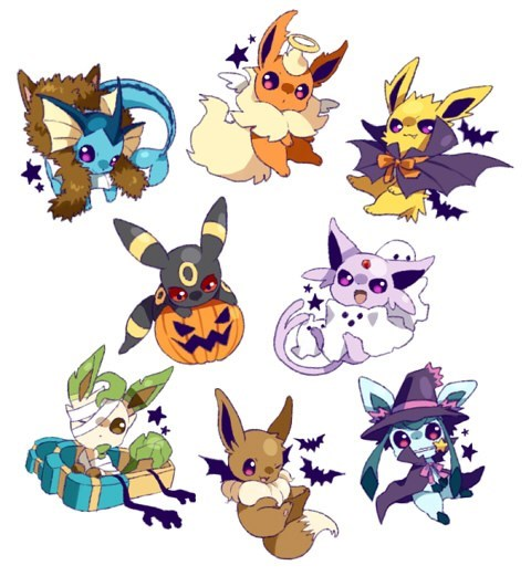Pokémon,eeveelutions,halloween,Fan Art,eevee