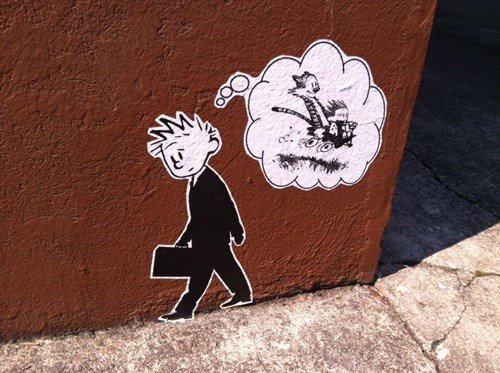 calvin and hobbes Street Art hacked irl - 8314141696