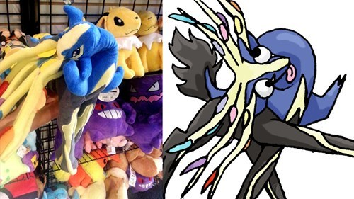 Bunch of Pokemon plushies on a shelf, Xerneas toy in a funny position a redrawing of this toy with a derpy expression