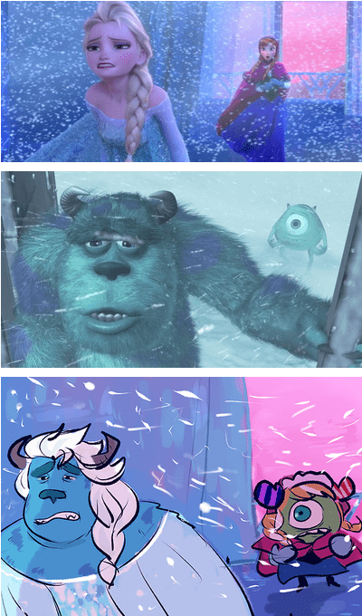 crossover,disney,Fan Art,frozen,monsters inc,pixar