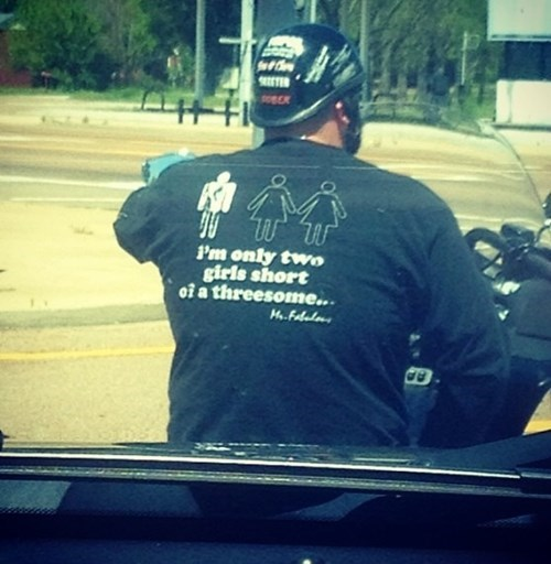 dating,motorcycle,t shirts,poorly dressed