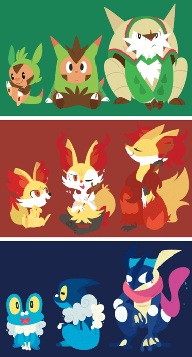 fennekin,chespin,Fan Art,greninja,gen 6