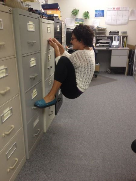 climbing,file cabinet,exercise,monday thru friday,g rated