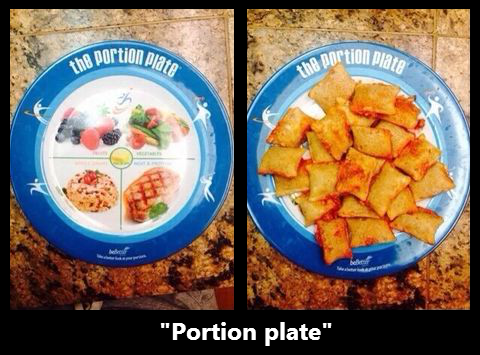 diet portion plate pizza rolls food - 8315889664