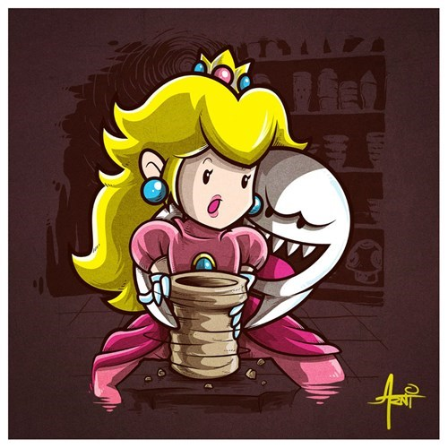 ghost,princess peach,art,boo