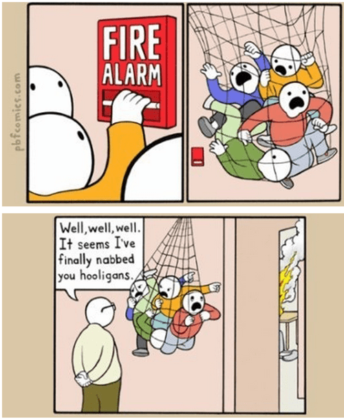 justice,fire alarm,pranks,web comics